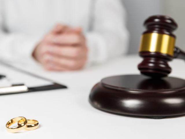 Judge Gavel Deciding On Marriage Divorce. Hands Of Judge, Signin